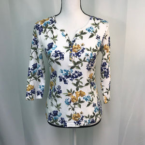 Multicolored Floral Cotton Blend Top NWT